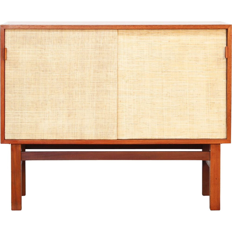 Vintage teak and leather sideboard, Denmark, 1960s