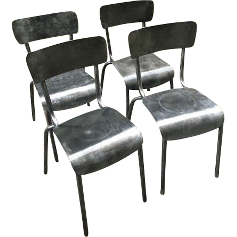 Set of 4 brass vintage bistro chairs, France