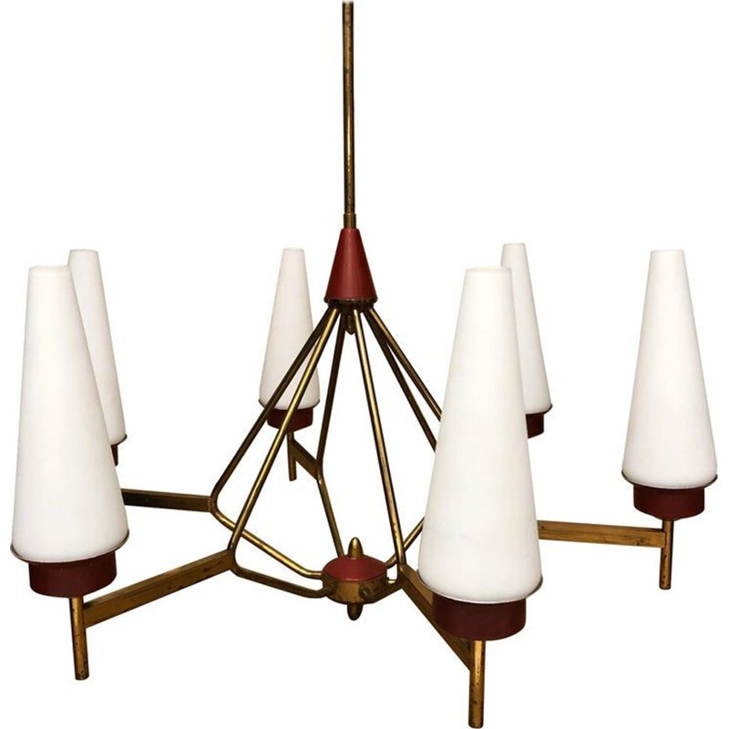 Vintage brass and opaline glass Chandelier, Italy, 1950s