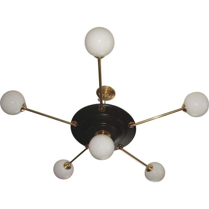 Vintage brass, metal and glass Chandelier, 1960s