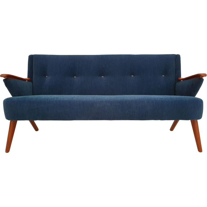 Vintage dark blue fabric and teak sofa by Chresten Findahl Brodersen, 1950s