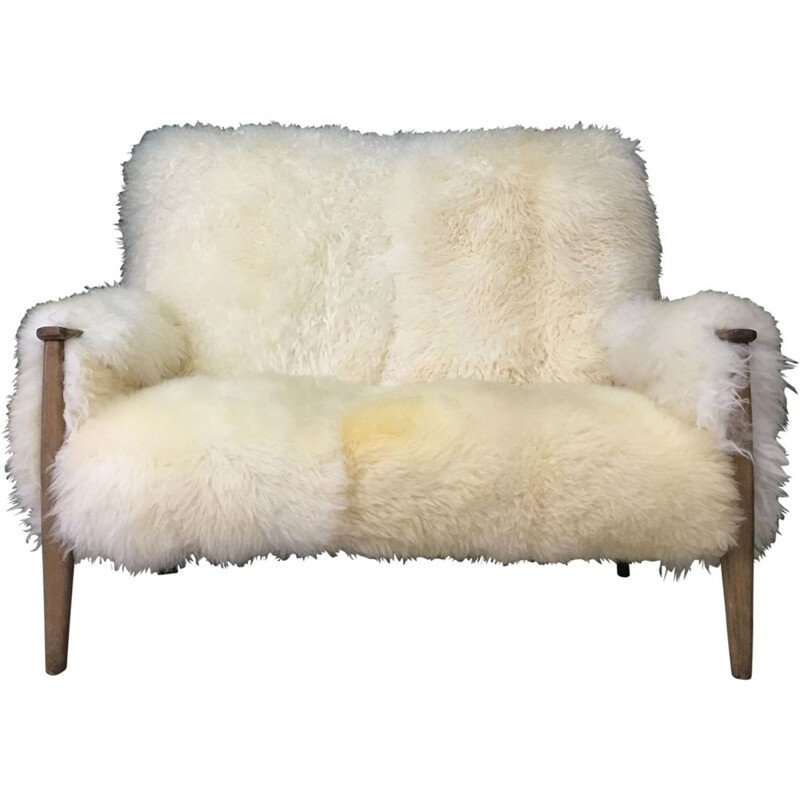 Vintage Art Deco white sofa in sheepskin and wood sofa by Parker Knoll