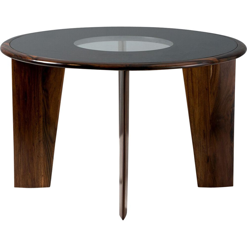 Vintage Rosewood Dining Table with Glass Top Joaquim Tenreiro 1950