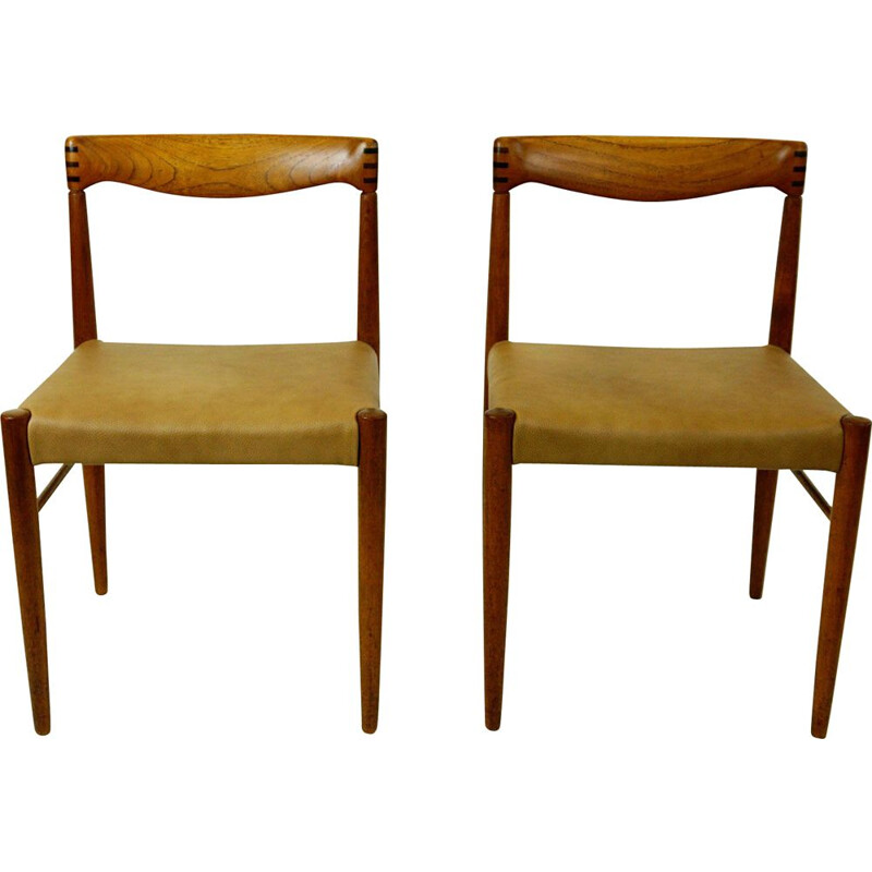 Pair of vintage Danish Teak Dining Chairs by H.W. Klein for Bramin
