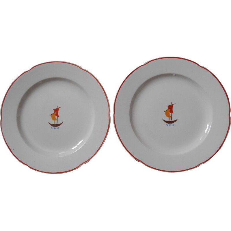 Set of 2 vintage ceramic plates by Gio Ponti,1936