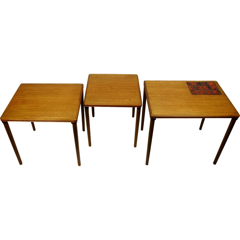 Set of 3 danish teak vintage nesting tables with ceramic tiles, 1960s
