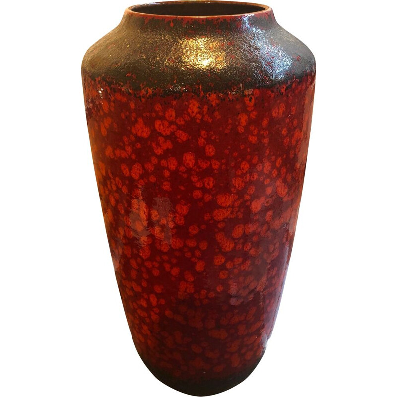 Large vintage red and black vase, 1960