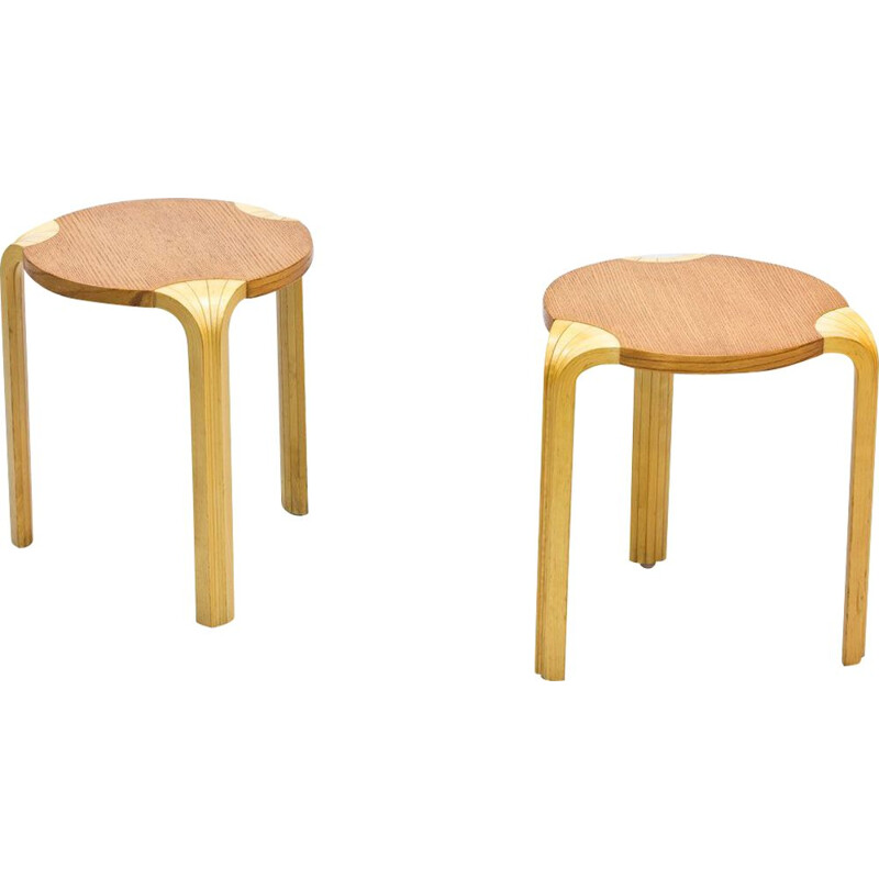 "Pair of Vintage ""X600"" stools by Alvar Aalto, 1954s"