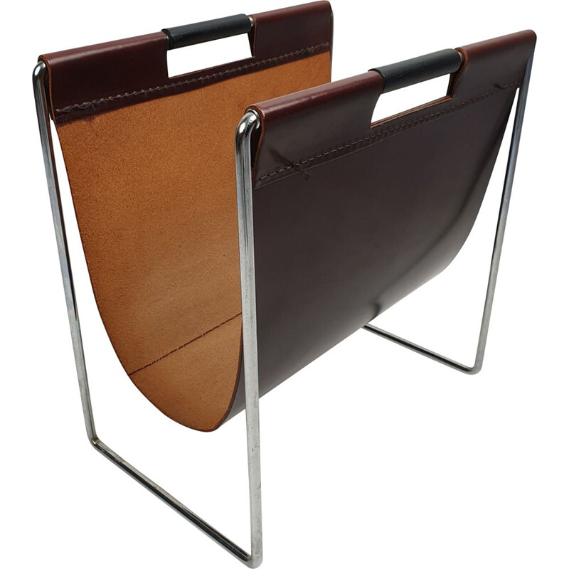 Leather and chrome vintage magazine rack by Brabantia, 1970s