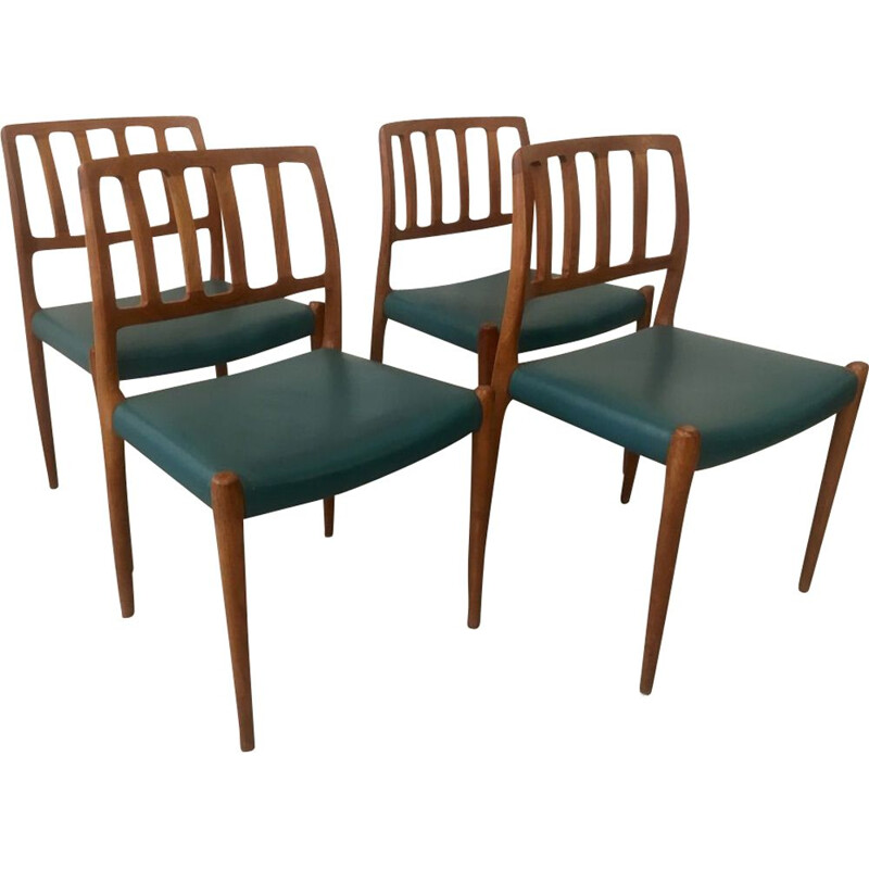 Vintage set of 4 teak chairs model 83 by Niels O. Moller