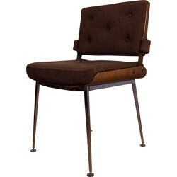 Chair in brown fabric and rosewood, Alain RICHARD - 1960s