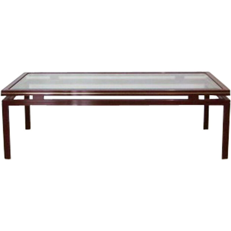 Coffee table in steel and glass, Pierre VANDEL - 1970s