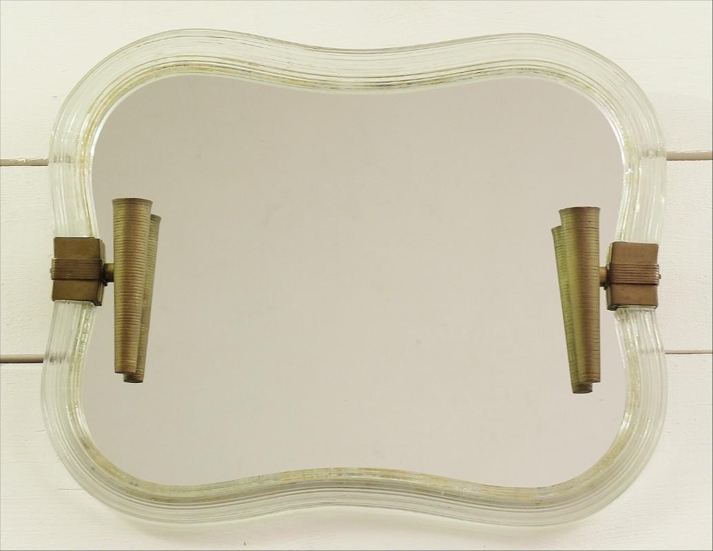 Mid Century Modern Mirror In Glass And Brass Barovier