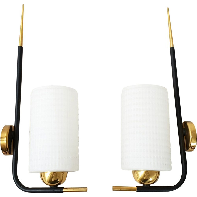 Suite of 2 vintage wall lights by Maison Arlus, 1950