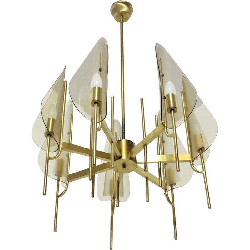 Vintage brassed metal chandelier by Gaetano Sciolari, 1970s