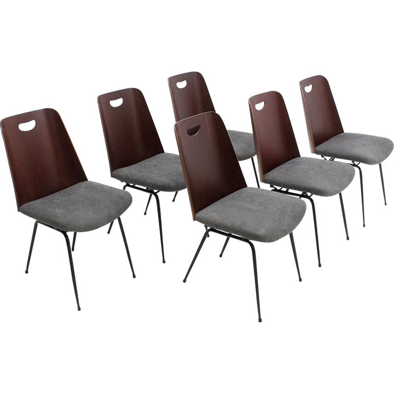 Set of 6 vintage Du22 chairs by Gastone Rinaldi for RIMA, 1950s