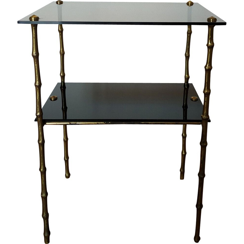 Vintage bronze and glass side table, 1950s