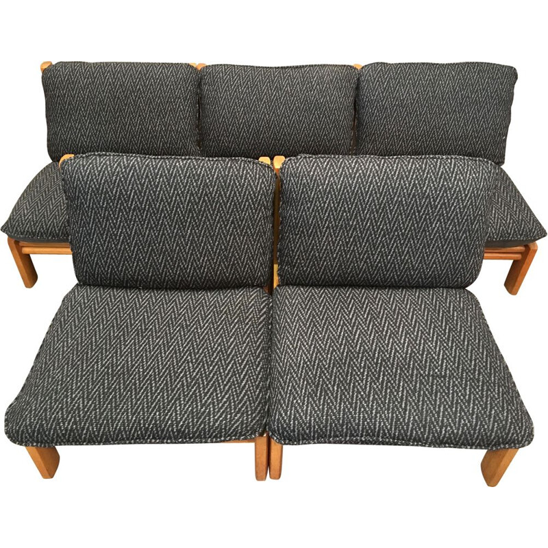 Set of 5 vintage solid oak modular sofas, 1960