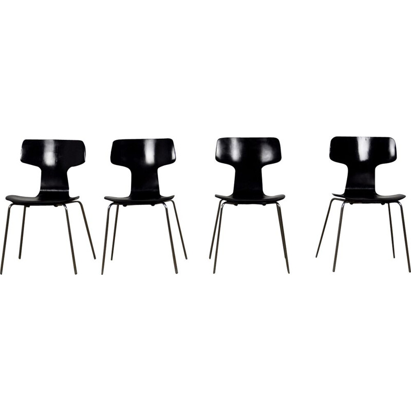 Set of 4 vintage Hammer chairs Model 3103 by Arne Jacobsen for Fritz Hansen, 1960s