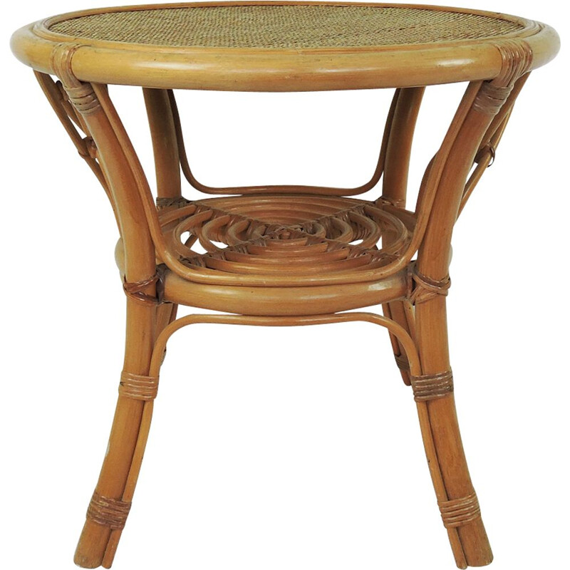 Round Vintage Cane and Rattan Side Table, 1970s