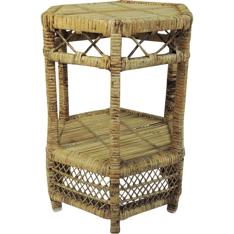 Vintage Cane and Rattan Side Table, 1970s