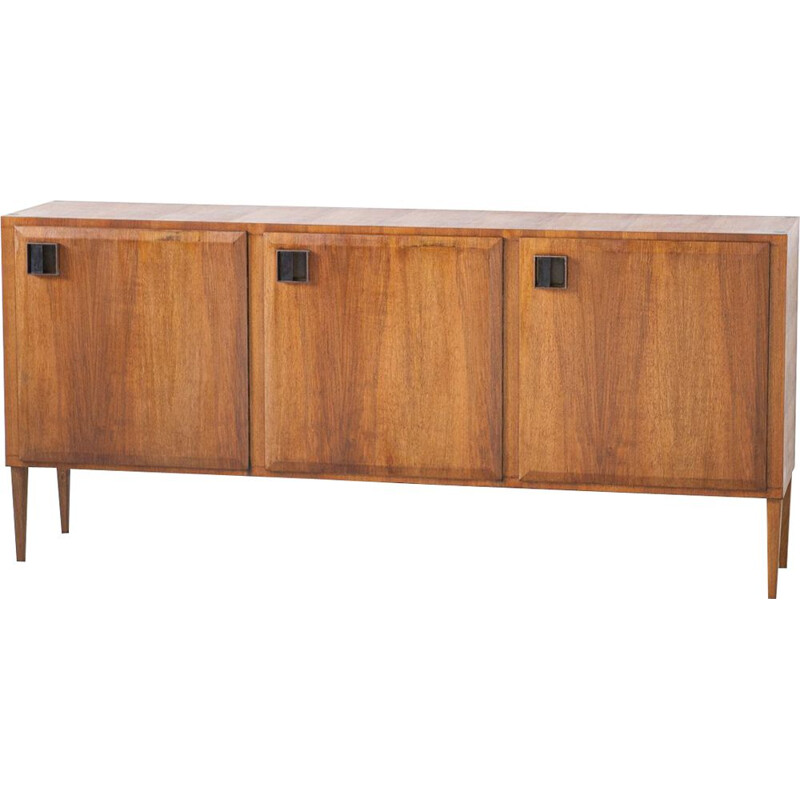 Vintage Teak Sideboard with Brass Handless, Italy, 1950s