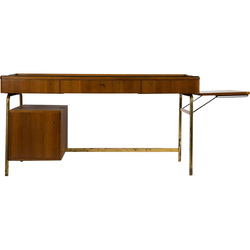 Vintage rosewood and brass modular desk, 1950s