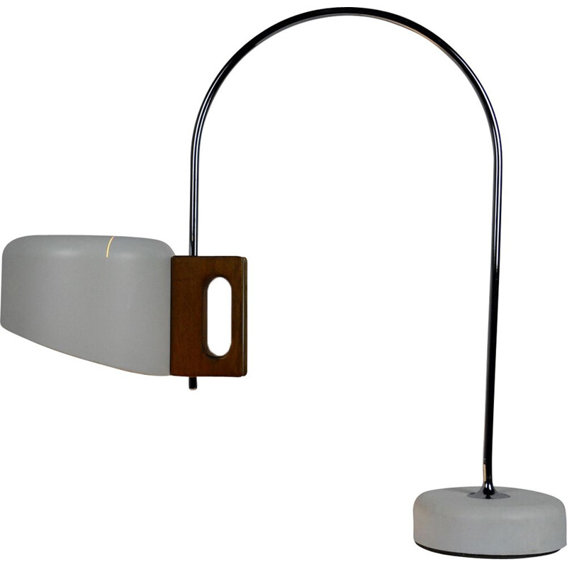 Vintage table lamp model Fase in metal and walnut handle, 1970s