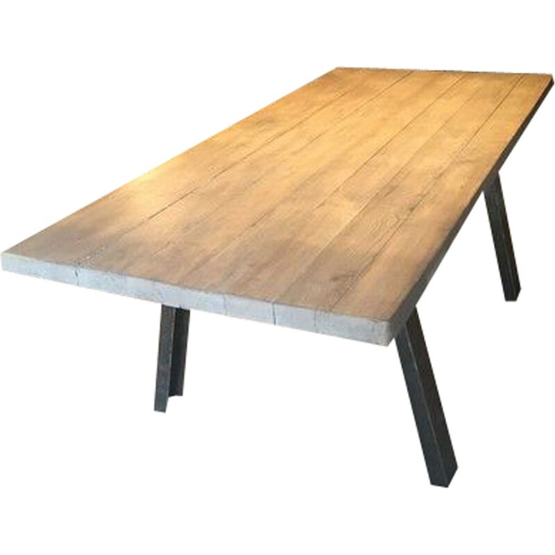 Vintage industrial table in solid ash and steel