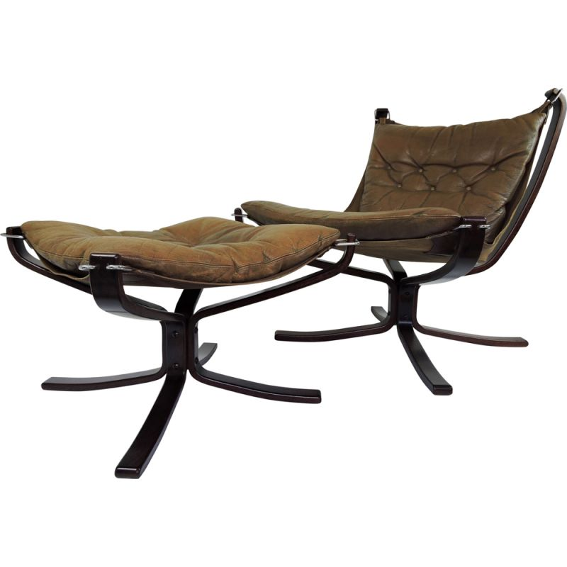 Vintage Falcon armchair and Ottoman by Sigurd Ressell, 1970s