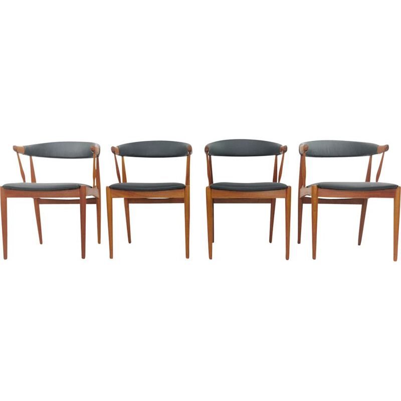 Set of 4 vintage Dining Chairs in Teak & Black Vinyl by Johannes Andersen, 1960s