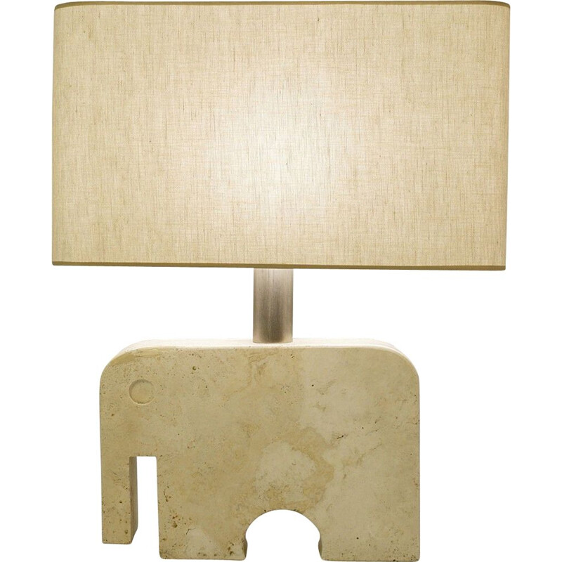 Vintage Elephant Desk Lamp in Travertine by Fratelli Manelli for Signa, 1970s