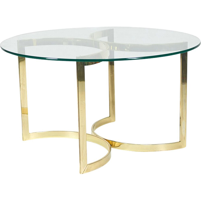 Vintage round dining table with glass and gold metal, 1970s