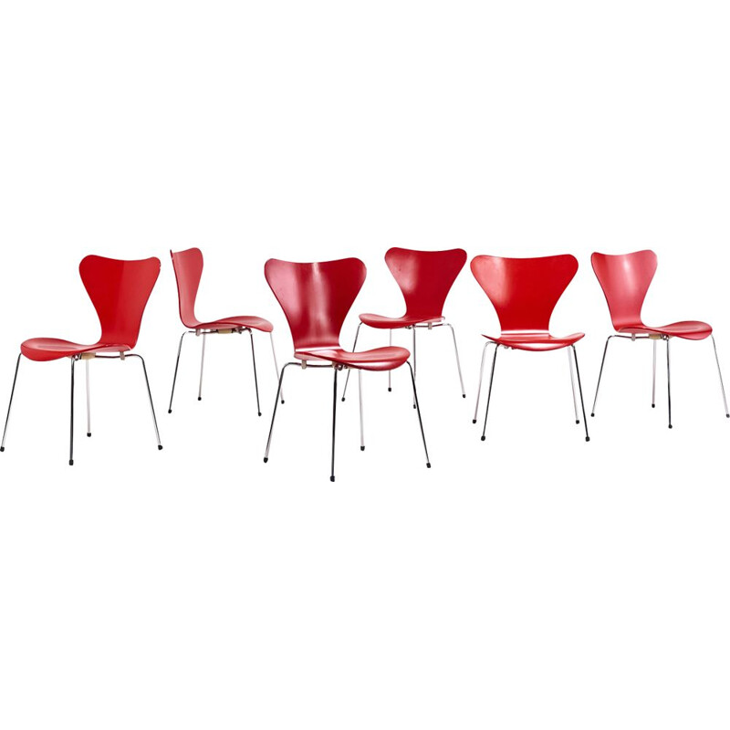 "Set of 6 vintage ""Butterfly"" 3107 chairs by Arne Jacobsen for Fritz Hansen, 1955"