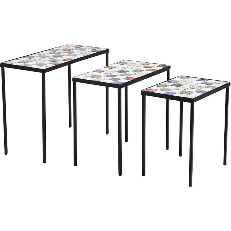 Vintage glazed ceramic nesting tables by Mado Jolain, 1950s