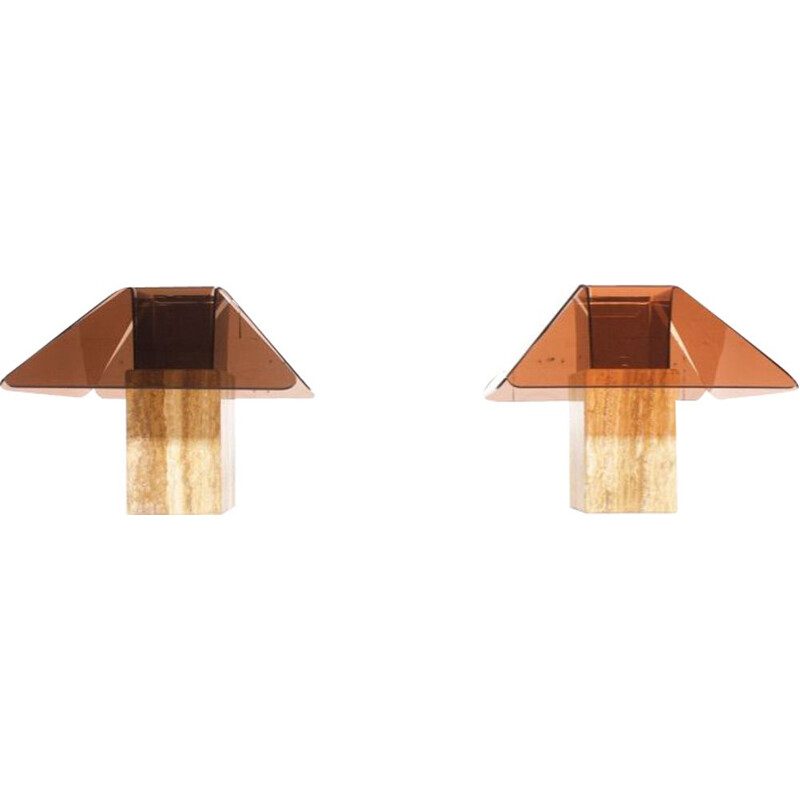 Pair of vintage travertine and plexiglass lamps, 1970s