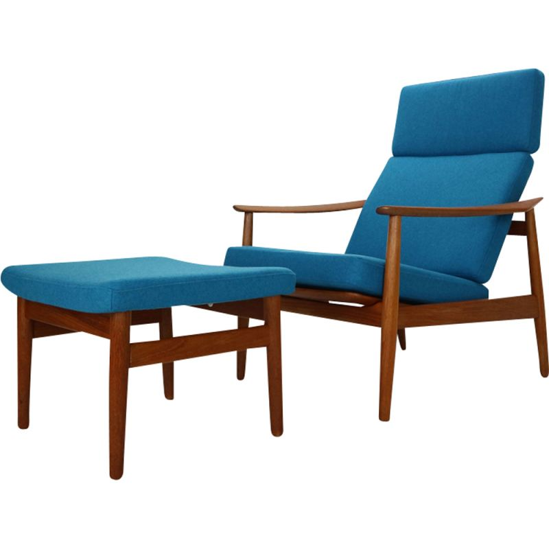 Vintage FD-164 armchair with Ottoman by Arne Vodder for France & Son, Denmark, 1960s