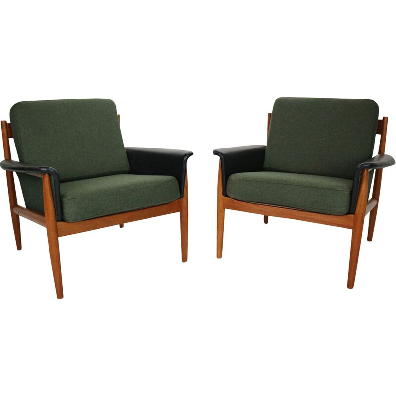 Pair of vintage Teak armchairs by Grete Jalk for France & Søn, Denmark, 1960s