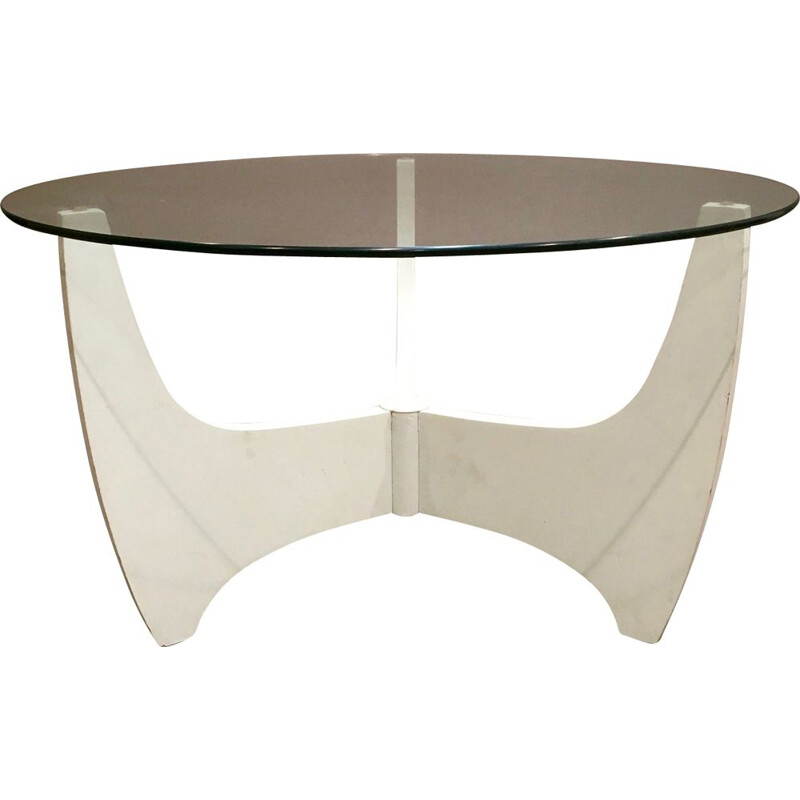 Vintage coffee table in lacquered wood and glass, 1960s