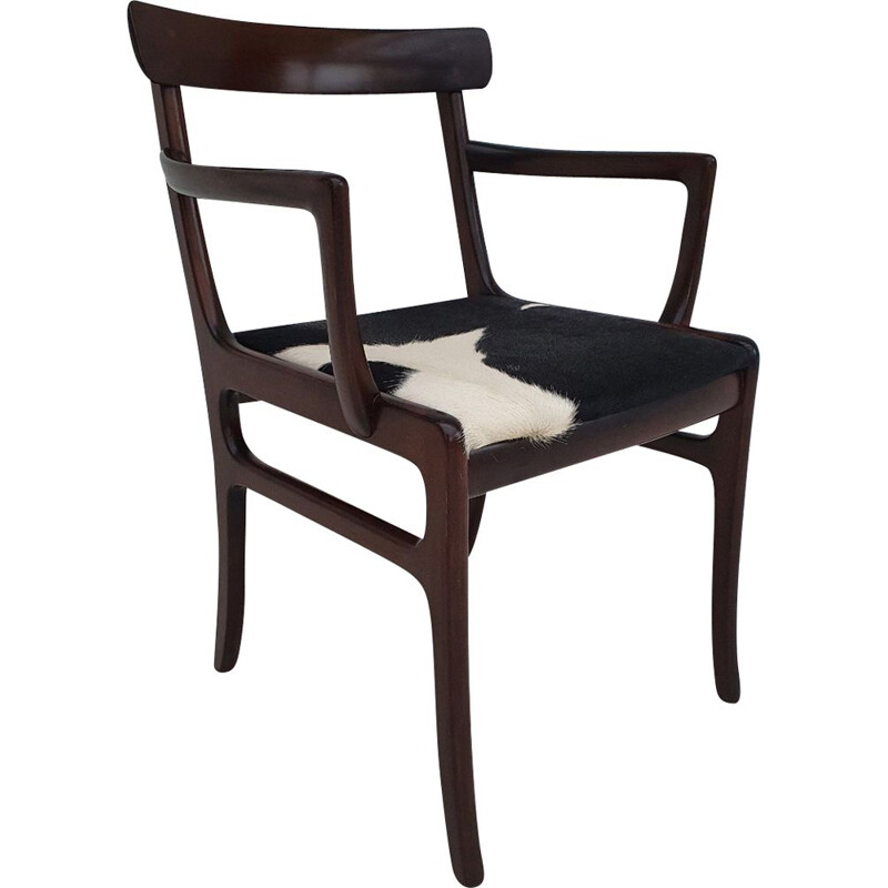 Vintage mahogany and cowskin armchair by Ole Wanscher from PJ Møbler