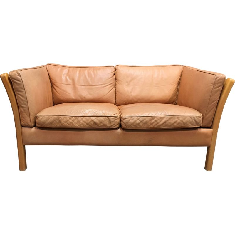Vintage 2-seater leather sofa Stouby