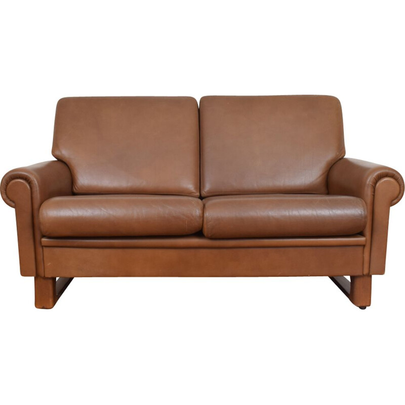 Vintage Leather and teak Sofa, Denmark, 1960s
