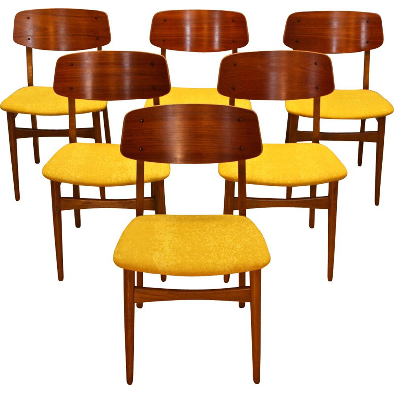 Set of 6 vintage dining chairs in teak and oak, Denmark, 1960s