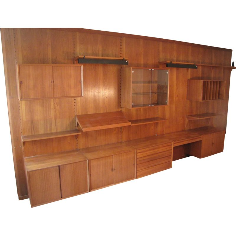 Vintage big wall shelf system in teak from Poul Cadovius for Cado