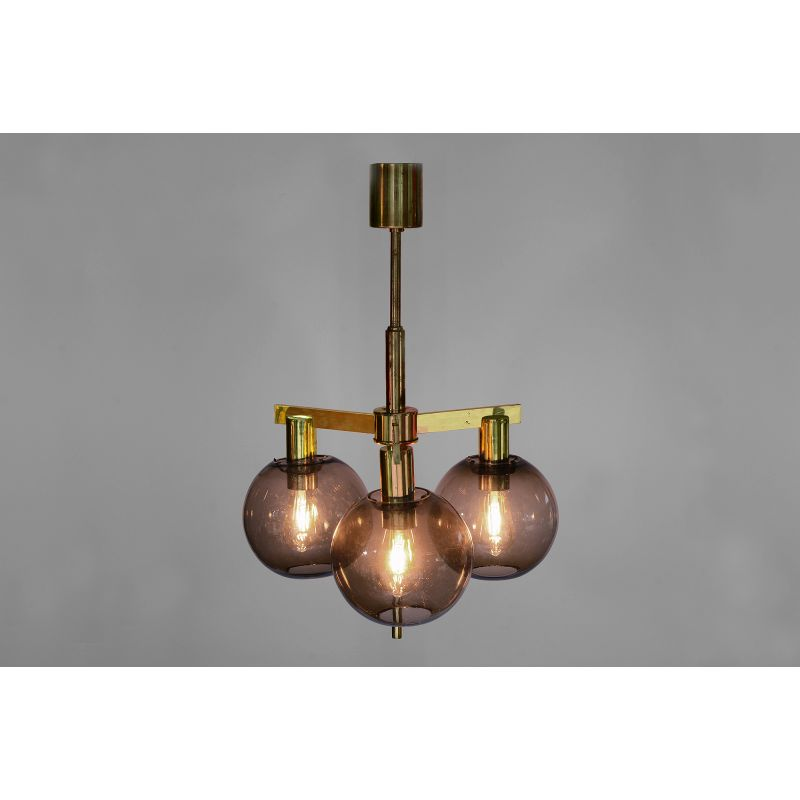 Scandinavian Modern Brass and Glass Globes Chandelier by Hans Agne Jakobsson, 1960s