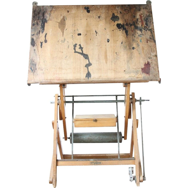 Vintage industrial drawing table in metal and wood, 1960s