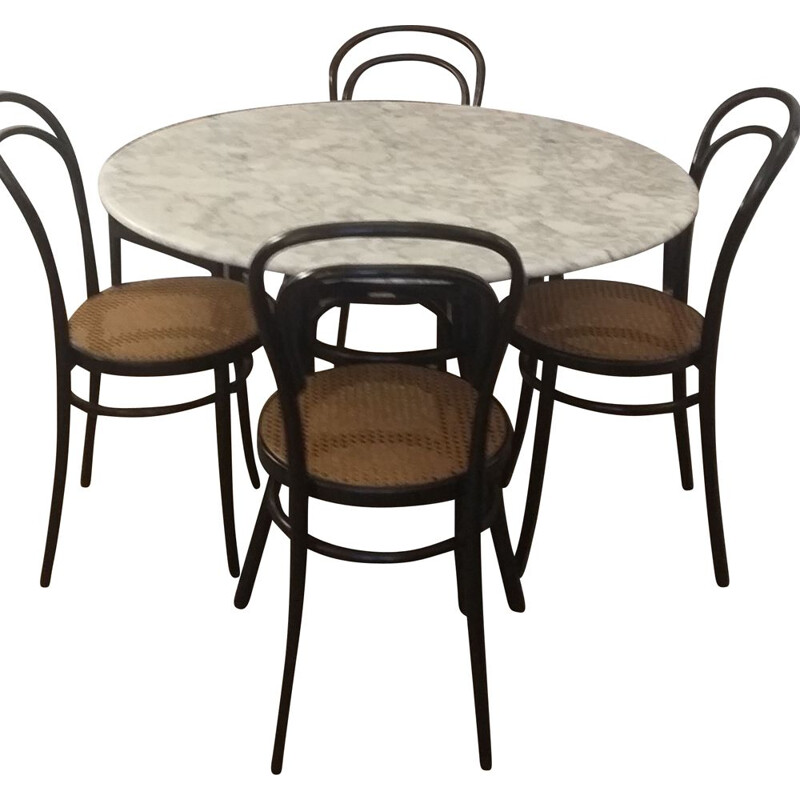 Vintage table and chair set by Radomsko (Thonet), 1960s
