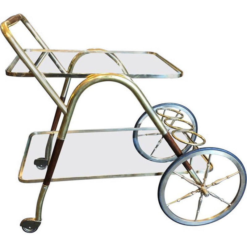 Vintage Brass and Wood Bar Cart, Italy, 1950s