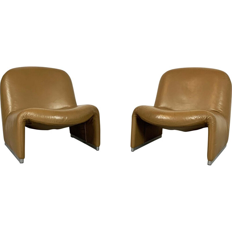 Pair of vintage Camel Alky Lounge Chairs by Giancarlo Piretti for Castelli, 1970s
