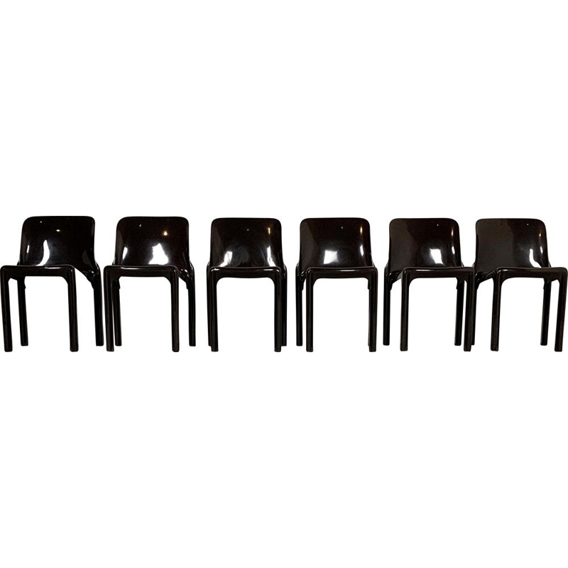 Set of 4 vintage Gaudi Armchairs and 6 Selene Chairs by Vico Magistretti for Artemide, 1970s